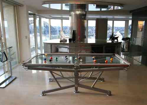 Mesa de billar de cristal nottage design g1 lujo vip for Mesas de billar de lujo