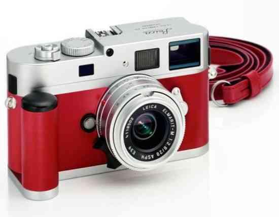 Camara de fotos Leica M9-P de cuero rojo de edición especial 7