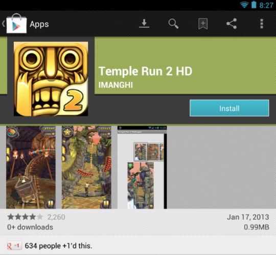El fake de Temple Run 2 para Android