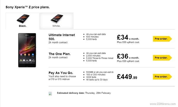 Sony Xperia Z lanzamiento