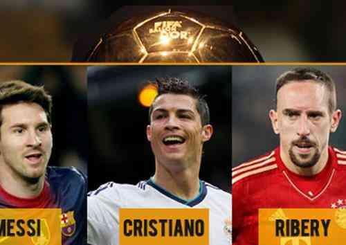 Cristiano, Messi y Ribery, finalistas del Balón de Oro