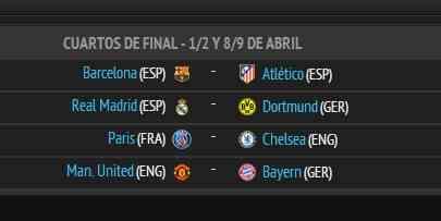 sorteo cuartos champions league
