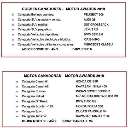 BMW Serie 8 y Ducate Panigale V4 premiados como Mejor Coche y Mejor Moto del año de los Motor Awards 2019 3